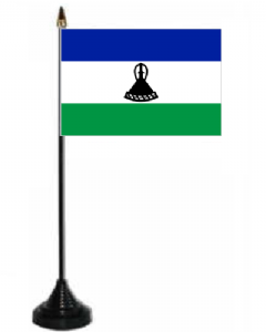 Lesotho Desk / Table Flag with plastic stand and base.